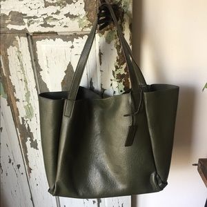 SILENCE + NOISE UO green faux leather tote